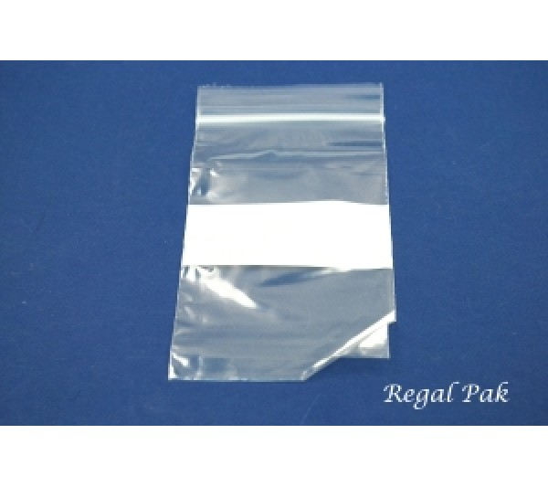 "Reclosable 2 Mil White Band Zipper Bags (100 Pieces In A Pack) 3"" X 5"""