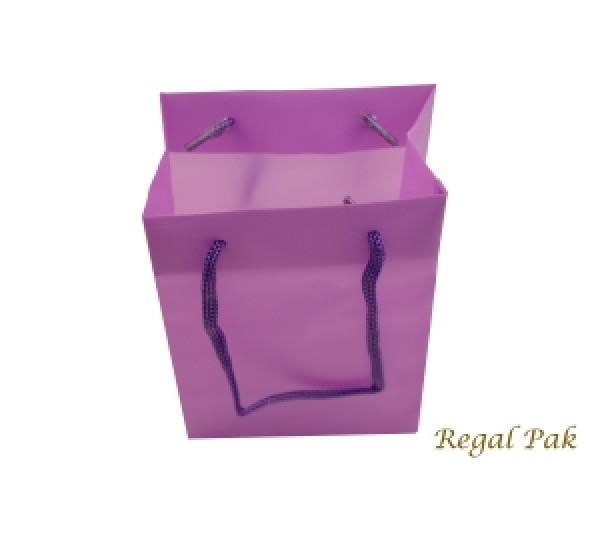 "Purple Frosted Plastic Shopping Tote 4 1/2"" X 2 3/4"" X 6 1/2""H"