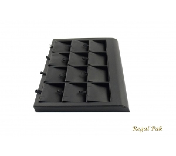 "Black Leatherette Earring Tray Display (12 Prs.) 9-3/8"" X 7-3/8"" X 7/8""H"