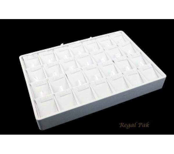 "White Leatherette Stackable Pendant Tray (28-Pendant) 12-1/2"" X 8-3/4"" X 1-7/8""H"