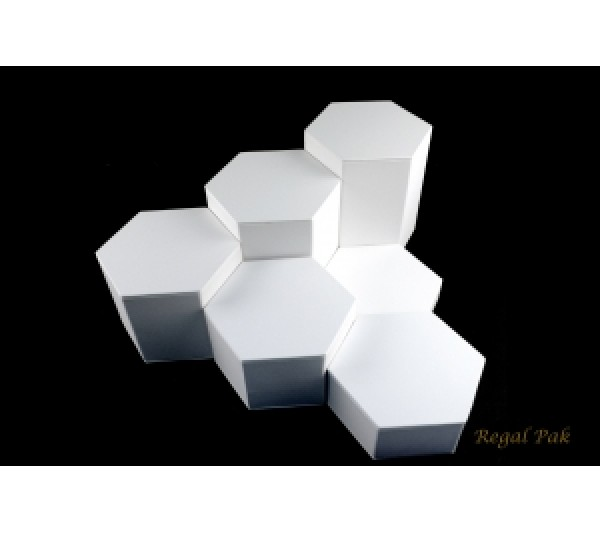 "White Leatherette Hexagon Riser Set (6 Pcs) 4 1/8""Diag X 1""~ 6""H"