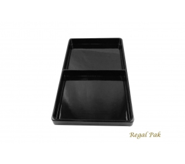 "Black Plastic Stackable Tray (2 Compartment) 15-7/8"" X 9-1/2"" X 1-3/8""H"
