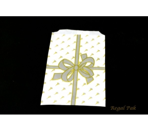 """Silver Bow Jewelry Gift Bags (100 Pieces In A Pack) 4"""" X 6"""""""