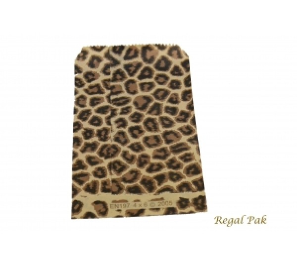 "Leopard Print Jewelry Gift Bag (100 Pieces In A Pack) 4"" By 6"""