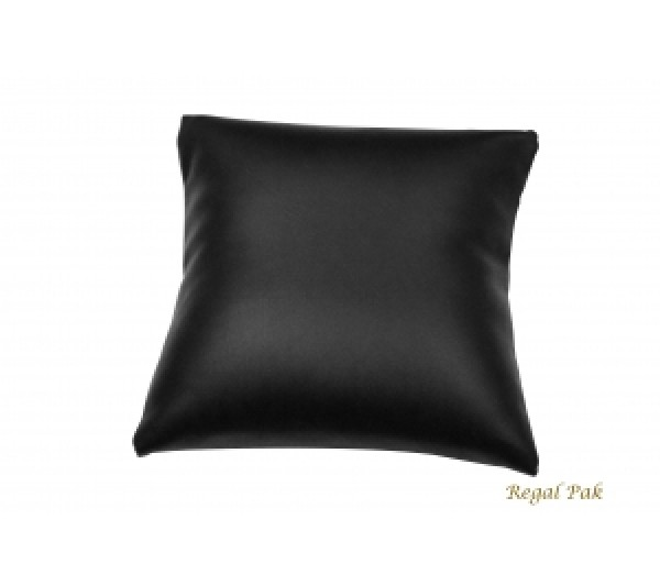 "Large Black Leatherette Bracelet/Watch Pillow 5"" X 5"""