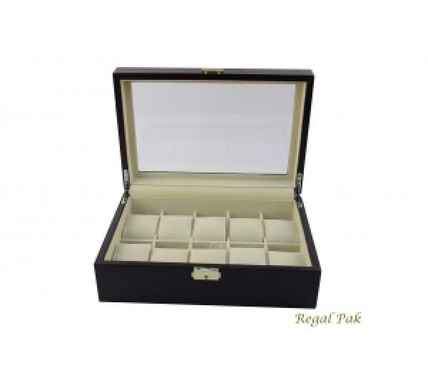 """Dark Brown Glass Top Watch Case With Beige Suede Inserts (10-Watch) 11 5/8"""" X 8"""" X 3 1/4""""H"""