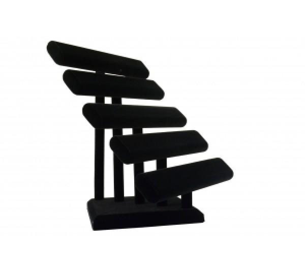 """Black Velvet 5-Level Oval Shape T-Bar 12- 5/8"""" W X 12-5/8""""Dx 14-3/4""""H"""