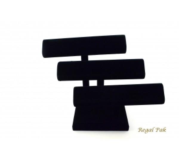 """Black Velvet 3-Level Oval Shape T-Bar 10-1/4"""" X 10-1/4""""H"""