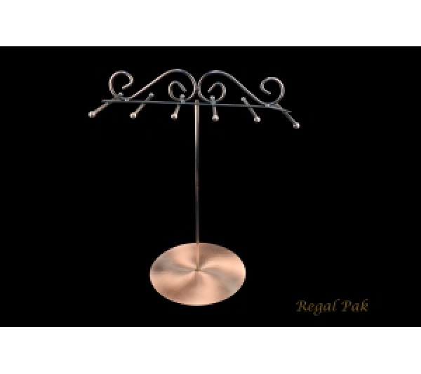 "Copper Wire Chain / Necklace Stand With 6 Bars 11"" X 7""D X 16""H"