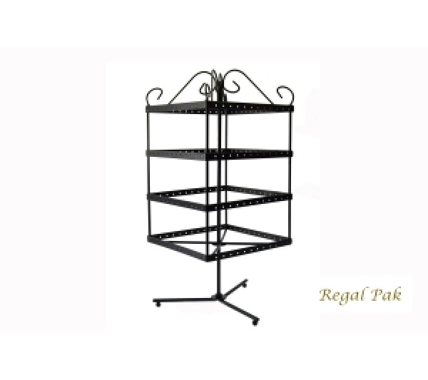 "Black Metal Square Rotating Stand (96 Pairs) 6-1/2"" X 6-1/2"" X 14""H"
